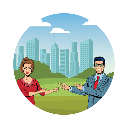 business couple pointing each other avatar cartoon character cityscape skyscraper round icon vector illustration graphic design Stock Illustratie