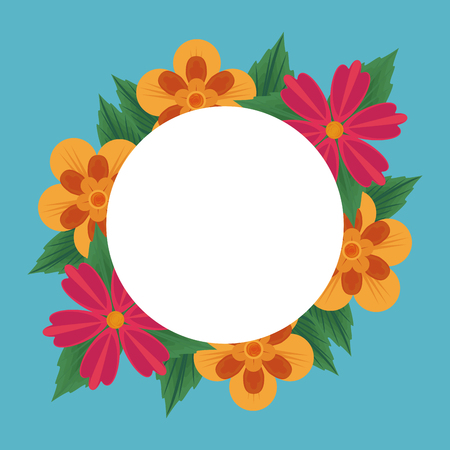 Floral round frame blank card vector illustration graphic design Иллюстрация