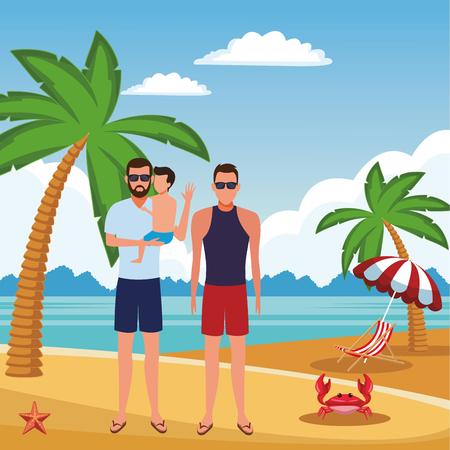summer vacation men with boy at beach cartoon vector illustration graphic design Vectores