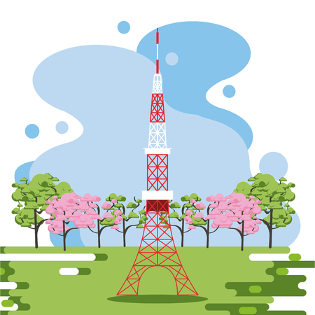 Telecommunication antenna in nature splash frame scenery vector illustration graphic design