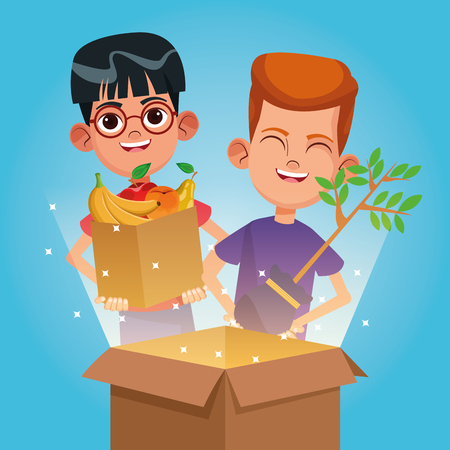 Kids with charity donations with food and plant in boxes vector illustration graphic design