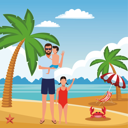 summer vacation man at beach with children cartoon vector illustration graphic design