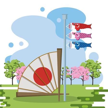 Japanese hand fan in landscape scenery vector illustration graphic design