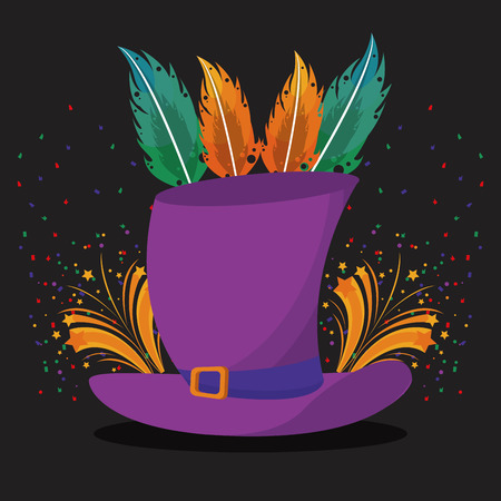 Carnival and party hat and feathers cartoons vector illustration graphic design 일러스트