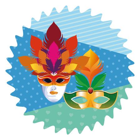 Máscaras con diseño gráfico del ejemplo del vector del icono redondo del arte pop de la historieta del icono de las plumas
