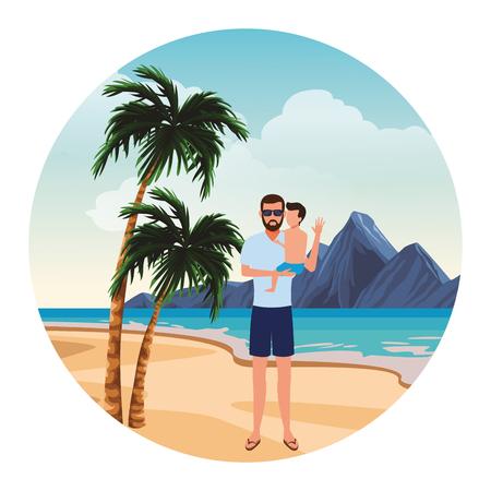 summer vacation man at beach with boy cartoon vector illustration graphic design Vectores