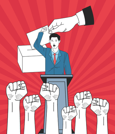man making a speech with raised fists hands and voting avatar cartoon character vector illustration graphic design