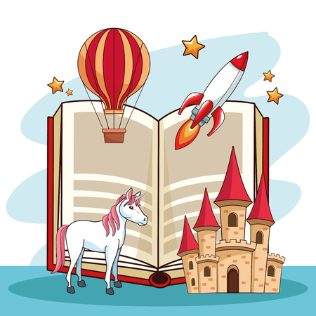 Fairy tales book open with fantasy cartoons