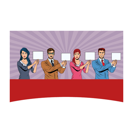 business people with signboard avatar cartoon character pop art background vector illustration graphic design
