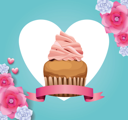 Delicious cupcake and flowers card blue background vector illustration graphic design