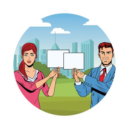 business couple with signboard avatar cartoon character cityscape skyscraper round icon vector illustration graphic design Stock Illustratie