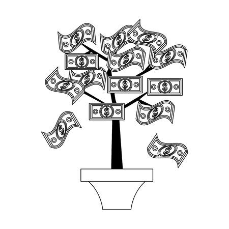 Money plant pot cartoon isolated vector illustration graphic design