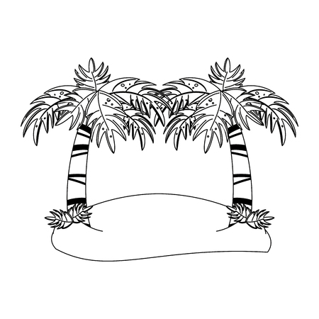 Palms trees on beach cartoon isolated vector illustration graphic design Ilustrace