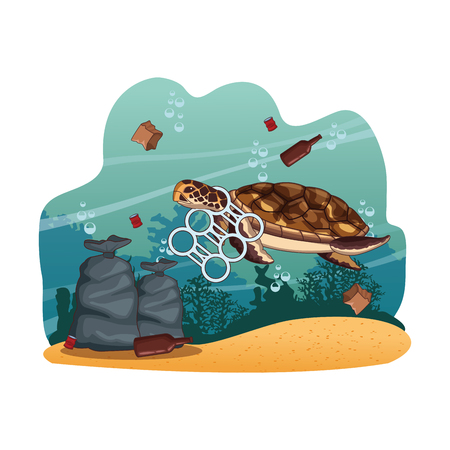 Sea cleaning bags and trash cartoons vector illustration graphic design