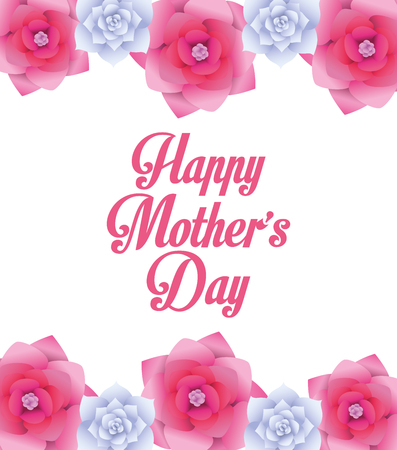 Happy mothers day card with flowers vector illustration graphic design 向量圖像
