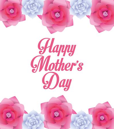 Happy mothers day card with flowers vector illustration graphic design Ilustração