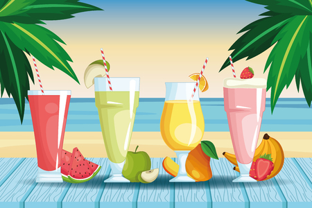 smoothies with fruit beach landscape icon cartoon vector illustration graphic design