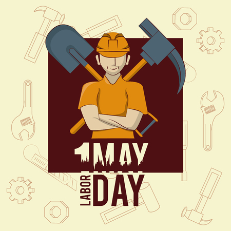 Labor day may eleven card worker and shovel with pick vector illustration graphic design