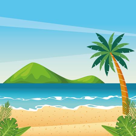 Beautiful beach cartoon scenery vector illustration graphic design
