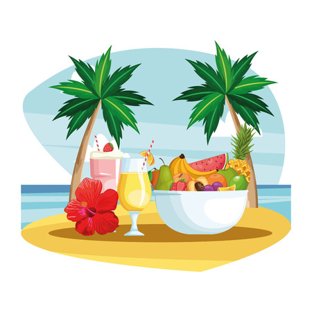 smoothies and fruit bowl beach landscape icon cartoon vector illustration graphic design