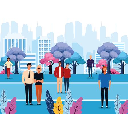 People in the city park scenery cartoons vector illustration graphic design Stock Illustratie