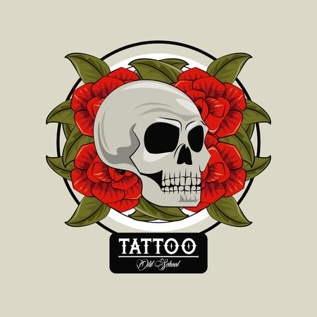 Tattoo studio old school drawings skull and roses emblem vector illustration graphic design Stock Illustratie