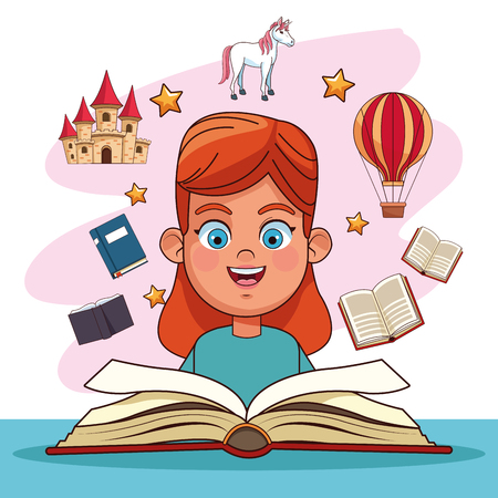 Kids reading fairy tales books cartoons vector illustration graphic design