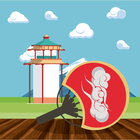 Japanese tradiditonal building and hand fan in nature vector illustration graphic design