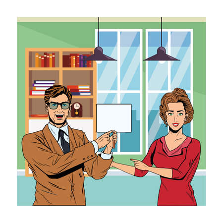 business couple with signboard avatar cartoon character indoor office vector illustration graphic design