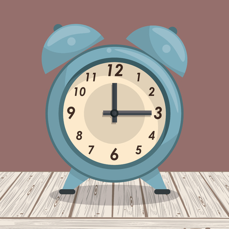 Clock bells alarm on table cartoon vector illustration graphic design