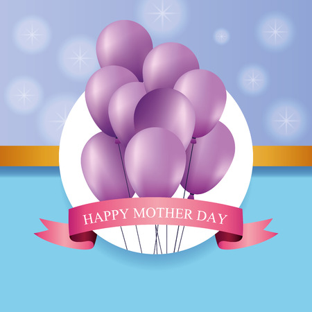 Happy mothers day card with purple balloons vector illustration graphic design Banque d'images - 123070553