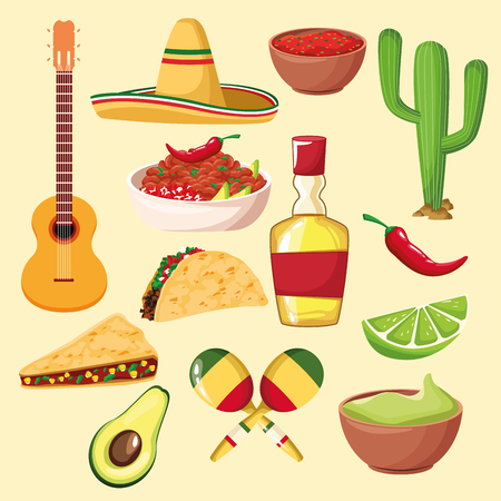 mexican food and elements cartoons collection vector illustration graphic design