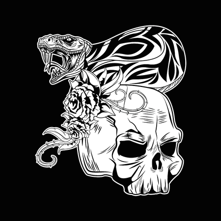 Tattoo old school skull and flowers drawing black background vector illustration graphic design