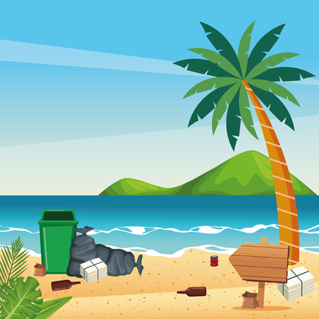 Dirty beach with cans and bottles dropped cartoons vector illustration graphic design