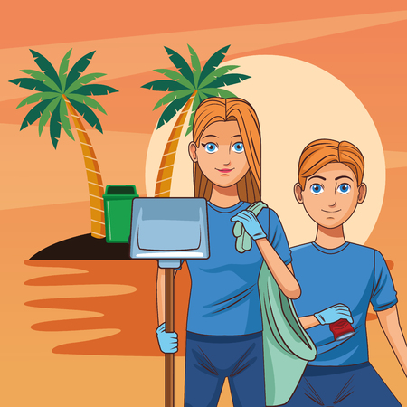 Teenagers with trash can cleaning the beach cartoon scenery vector illustration graphic design Ilustracja