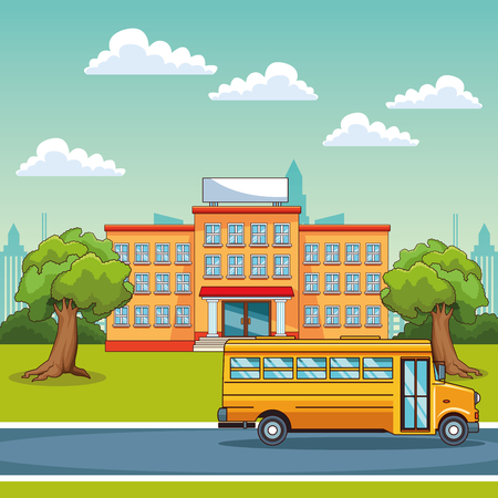 School building and school bus outdoors scenery vector illustration graphic design Ilustração