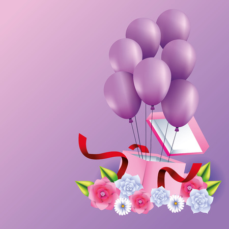 Romantic gift box present with balloons and flowers vector illustration graphic design Banque d'images - 123070617