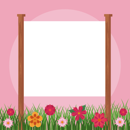 Blank frame sign in floral garden vector illustration graphic design Иллюстрация