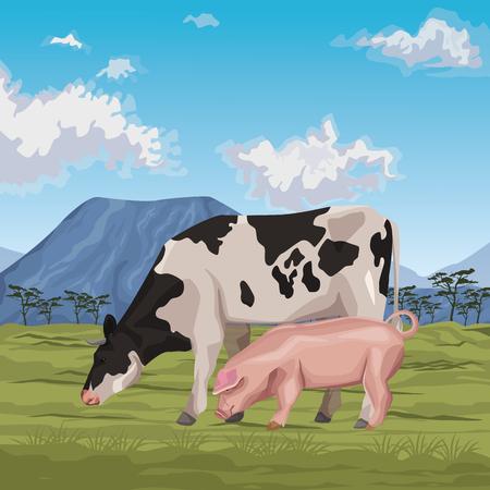 vache avec cochon icône dessin animé paysage sauvage illustration vectorielle design graphique