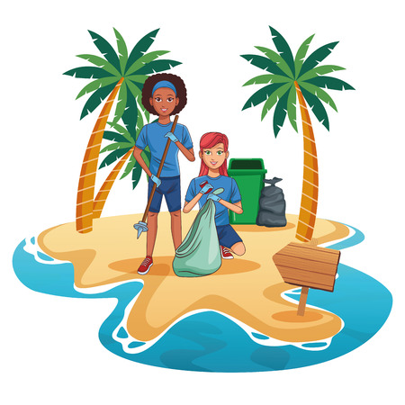 Teenagers with trash can cleaning the beach cartoon scenery vector illustration graphic design Stock Illustratie