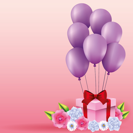 Romantic gift box present with balloons and flowers vector illustration graphic design Banque d'images - 123070693