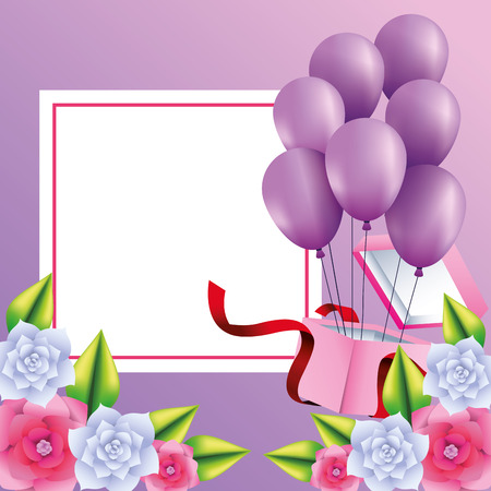 Romantic gift box present with balloons and flowers vector illustration graphic design Banque d'images - 123070695