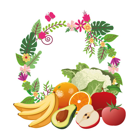 fruit and vegetables cartoon icons with floral arragement vector illustration graphic design Çizim