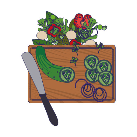 Healthy salad with vegetables on table with knife vector illustration graphic design Stock Illustratie