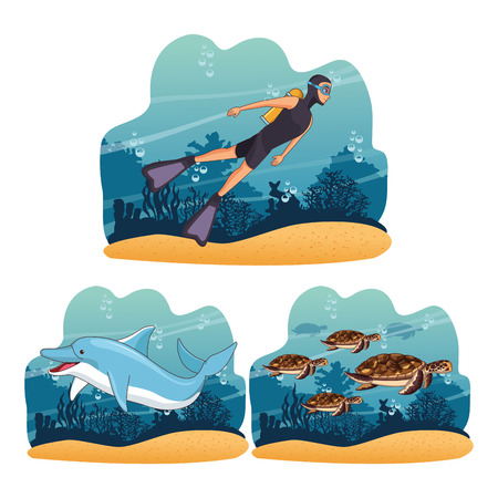 Diving people in the sea frames scenery vector illustration graphic design