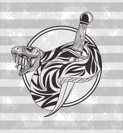 Tattoo old school drawing gray and white striped background vector illustration graphic design