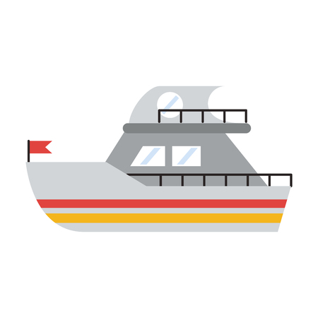 Yatch boat vehicle isolated cartoon vector illustration graphic design