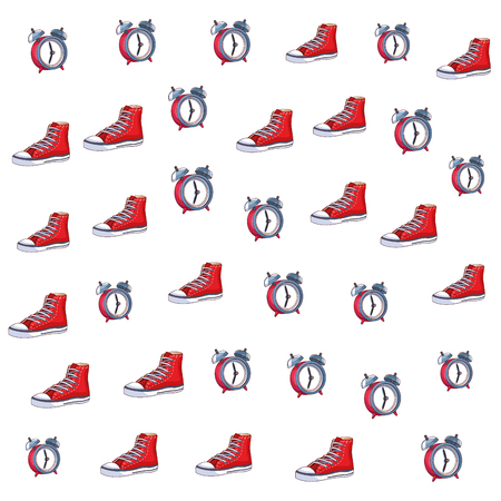 sneaker and alarm clock icon background pop art vector illustration graphic design