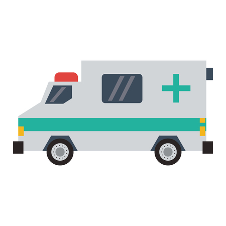 Ambulance emergency vehicle sideview vector illustration graphic design Stock Illustratie