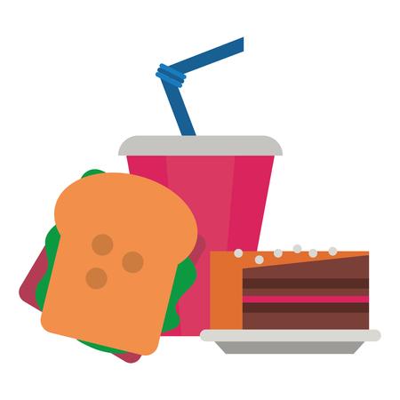 Cake and drink desserts cartoons vector illustration graphic design
